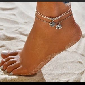 Jewelry - 🖤White Chord Elephant & Sun 2pc Anklet🖤